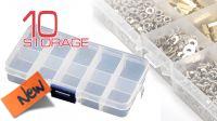 Caja transparente con 10 compartimentos para tornillos