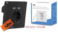 Módulo Para Embutir En Caja Superficie Con Conector Schuko + 2 x USB 2.1A  Negro