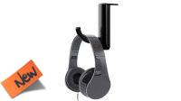 Soporte gancho para auriculares colocación lateral en monitor negro (2 piezas)