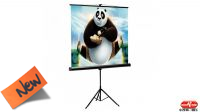 """Pantalla de tela 112"""" para proyector de video area util 200x200cm con trípode"""